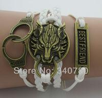 Fashion vintage handcuffs,dragon head,wolf head,best friend bronze charms preparation bracelets leather rope wax cords bracelets