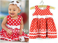 Western Style Summer Dress for Girls with Bow Double layered One piece Dress RED 5 pcs lot BS1015