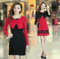 2013 new Autumn fake two-piece bow lace beads Slim Korean women long sleeve dress