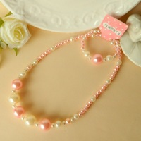 2014 new  Children girl necklace suits  Baby pearl bracelet necklace Pink white necklace bracelet sets