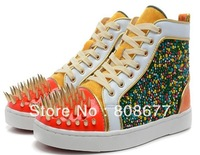 2013 Fashion New Mens Genuine Leather Flats Boots Rhinestone Shoes Rivets Spikes Dress Shoes