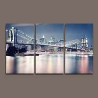 High Quality 3 pcs Scenery Art Canvas of Bridge Night View Painting for Home/Office Decoration -- Modern Canvas Printing