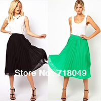 Fashion Casual Women High Waist Pleated Skirt Double Layer Solid Chiffon Skirt Free Shipping Plus Sizes XS/S/M/L/XL/XXL