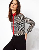 Hotting sell Europe Fanxia new season leisure contrast color side stripes lapel long-sleeved blouses triangle free shipping