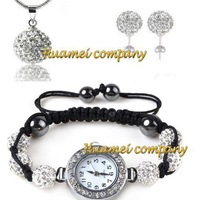 HIigh Quality Shamballa White Crystal Watch Necklace & Earring Set JEWELLRY Disco Ball Set Hotselling