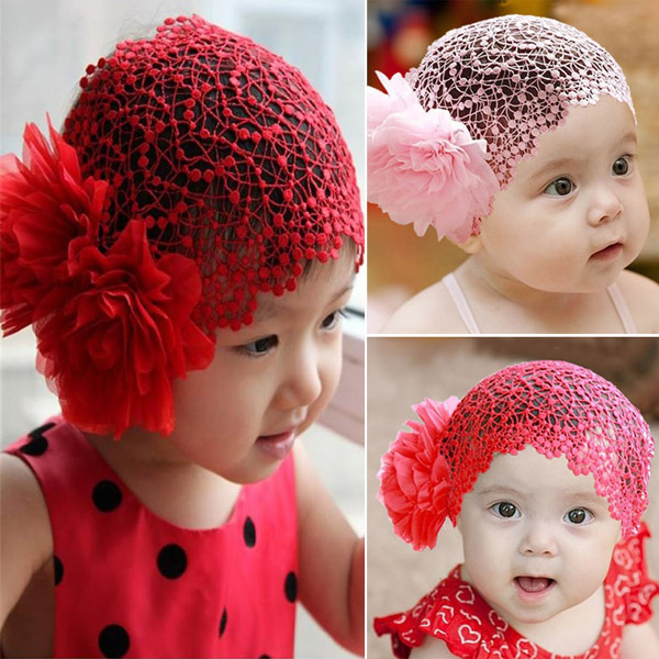 Baby Toddlers Girls Kids Lace Hat Big Flowers Hat Sewing Cap Headband 1-6T 2 Colors Free DropShipping(Hong Kong)