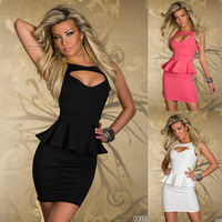 New Fashion 2013 Plus Size Women Clothing Dresses Sexy Hollow-out Chest Peplum Dress Black White Pink Size S M L XL