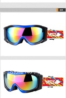 Free Shipping skiing glasses snow  spherical goggles ski goggles women 4 colors white , red ,black red , blue