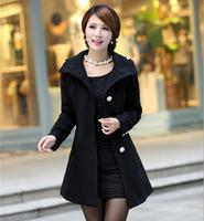 2014 4Colors Women Lady Warm Long Coat  Women Single-breasted Coat Turn-down Collar Autumn Winter OverCoat Outwear Free Shipping
