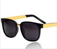 free shipping fashion vintage sunglasses metal male women's big black circular frame sunglasses
