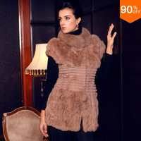 Luxury spliced 2013 the fur vest rabbit hair stand collar sleeve length vest fox style real mink fur coat winter thick fur vests
