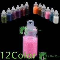 Free shipping: 12 Color Glitter Decor Nail Art Powder Dust Bottle Set wholesale
