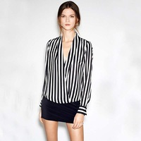 2013 new fashion Vertical Stripes suit Stand-up Collar + V Collar Pocket Chiffon Shirt