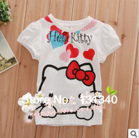 2013 kids Hello kitty baby girls t shirts /kids t shirt girl white free shipping 2-6years