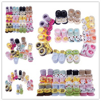 24pcs/Lot Wholesale Newborn Baby Unisex Indoor Anti-slip Warm Socks Animal Cartoon Shoes Outdoor Boots 0-12month