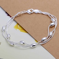 Free Shipping!Wholesale 925 Silver Bracelets & Bangles,925 Silver Fashion Jewelry Three-wire light bead Bracelet SMTH236