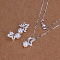 Free Shipping!925 Silver Jewelry Set,Fashion Sterling Silver Jewelry Pearl Butterfly Necklace&Earring SMTS198