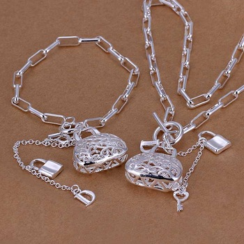 Free Shipping!925 Silver Jewelry Set,Fashion Sterling Silver Jewelry  Checkered Chain Bag Necklace&Bracelet SMTS006