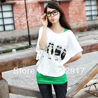 New 2014 Spring and Summer Autumn Lloose Batwing Sleeve Twinset Women's Basic shirt Short-sleeve t-shirt + vest Women t-shirt