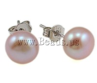 Free shipping!!!Freshwater Pearl Earrings,Hot Selling, Cultured Freshwater Pearl, brass post, Round, mixed colors, 8-9mm