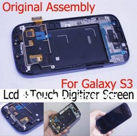 For Samsung Galaxy S3 Digitizer LCD Screen Assembl blue i9300 LCD with frame Touch Digitizer Screen Original Assembly free ship