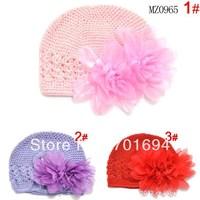 Wholesale cotton double- double flowers mesh cap   flower handmade hat head cap