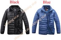 New Arrival Men's Solid Long Sleeve Full Zipper Lightweight Down Coat Jackets Tops Blue/ Black Size Asian M,L,XL,XXL 17780