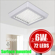 FreeShipping WarmWhite/white LED kitchen light walkway Lighting Bathroom Lighting Ceiling lamps  6W 72Leds 220V 230V 240V Square(China (Mainland))