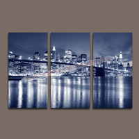 Multi-panel Beautiful New York City Bridge Night View Unframed Oil Painting Home Ornamental Wall Canvas Art -- Painting Canvas