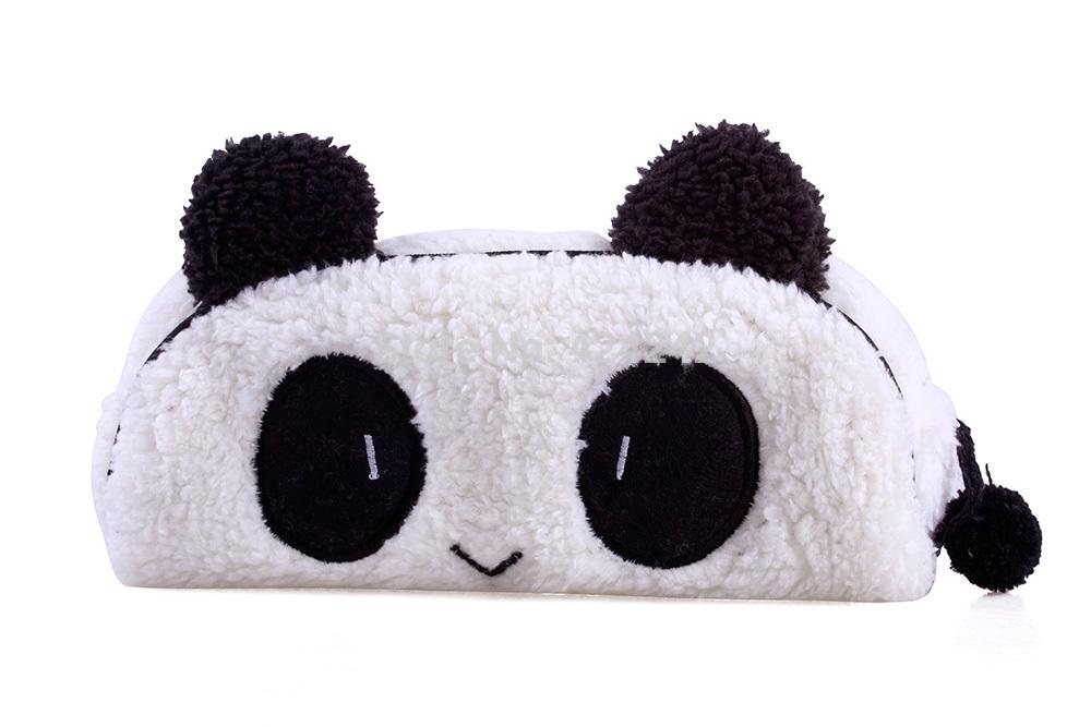 New Cute Fashionable Soft Plush Panda Pencil Pen Card Case Cosmetic Notebook Makeup Bag Pouch#40695(China (Mainland))
