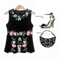 European 2013 Autumn Latest Runway Style Sleeveless O-Neck Luxury Embroidery Black lady Blouse   Fashion Women Top