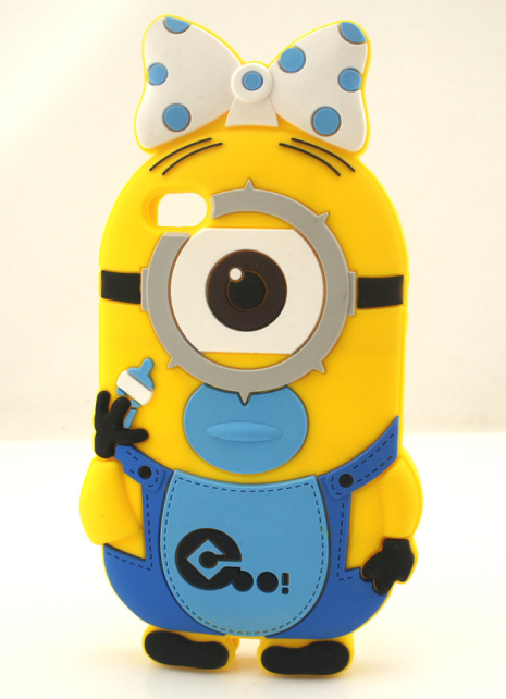 Free Shipping Cute Cartoon Despicable Me Minion Silicone Universal Cases Cover For Apple Iphone 4 4G 4S 5 5G Touch 4 4G Defender(China (Ma