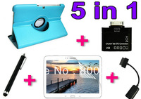 Free shipping 360 Roating Leather Case Cover  for Samsung Galaxy Tab 2 10.1 P5100 +1PCS Screen Protector +1PCS Sceen Pen