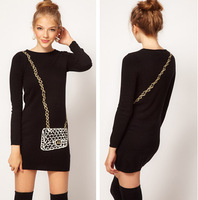 Popular Personality Black Sweater Dresses Free Shipping Longsleeve Chain Messenger Bag Print Lady Primary Dresses 13081406