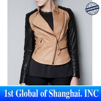 2013 Women New Fashion Ladies' elegant Cool Punk PU Leather short Jacket coat Long sleeve zippers outwear coat casual slim tops
