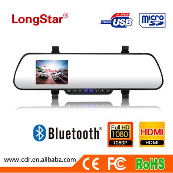 Freeshipping Bluetooth Rear View Mirror Car dvr K5-B+ Novatek 96632+ Night Vision+ Phone function+Gsensor+motion detection+HDMI