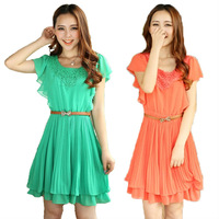 Free Shipping summer 2013 new short pleated chiffon O-neck sashes slim color green and orange lady womans dress X376