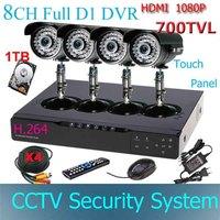 "Touch 8CH Full D1 HDMI 1080P Standalone DVR 1/3"" Sony CCD 700TVL IR waterproof Outdoor CCTV Surveillance camera Kit 1000GB HDD"