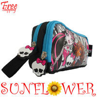 In Stock 2013 Brand NEW Children Girl's Cartoon MONSTER HIGH Fashion Pencil Bag High Quality Free Shipping