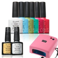 Choose  ANY 6 Color Gel+UV Lamp+TOP COAT+BASE COAT New UV Gel Polish Cristina Soak Off UV Gel 7.3ml 0.5oz Long-lasting Nail Gel