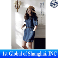 Brand Newest Vintage Fashion Women's Big Size Denim Dress With Pocket Popular Ladies' jeans casual Dresses Plus Sizes XXL