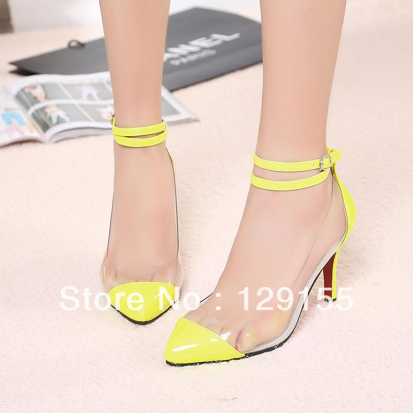 O novo sexy coringa alta splicing transparente apontou sapatos documentários(China (Mainland))