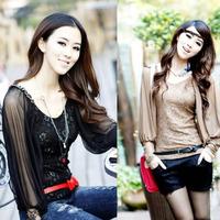 2014 new spring Women Basic Chiffon Blouse Sheer Top Casual Foldable Sleeve Loose Shirt Blouse