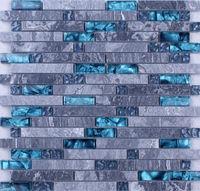 Glass Tile Backsplash Kitchen Design Colorful Crystal Glass & Stone Blend Mosaic Marble Wall Stickers Bathroom Floor Tiles N008