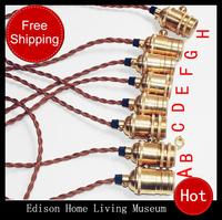 Vintage light bulb pendant light kit diy accessories fashion pendant light copper lamp holder ,Base + line + copper lamp lights