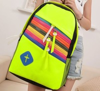 Free shipping 2014 new women's denim leisure travel backpack schoolbag Korean version of College Wind
