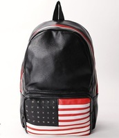 Free shipping new National flag bag unisex fashion rivet PU leather backpack schoolbag College Wind