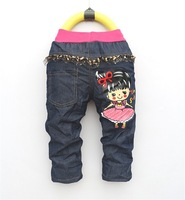 free shipping 2013 cartoon girl boy's jeans children Trousers children's pants 1PCS 1LOT