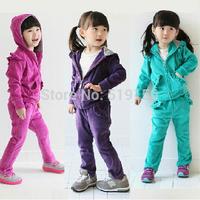 Free shipping 2014 children's fashion autumn girls clothing baby child sports casual set