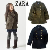 New Brand Winter Autumn children wool trench coat boy girl unisex clothing double breast kids woolen jacket outerwear